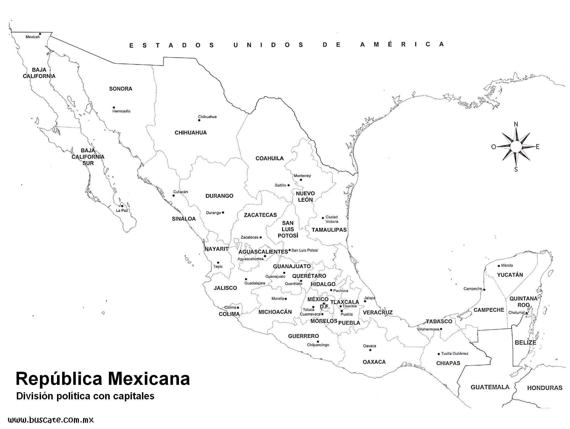 Mapas Escolares - Mapa de mexico